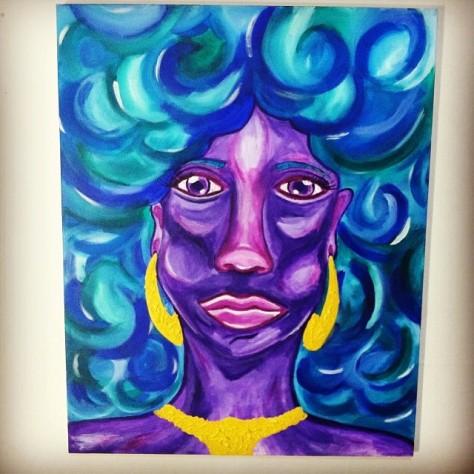 Purple Lady Blue Hair